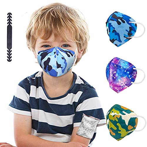 Kid Sized KN95 Face Mask, Tie Dye Pattern Mask Individually Wrapped, Camo Variety Colored Printed Mask for Children, 5-Ply Protective Breathable Mask with Adjustable Nose Clip for Boys Girls - 20 Packs