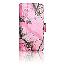 Pink Camo Mossy Tree Leather Wallet Purse Faux Leather Handbag Samsung Galaxy S5 Active Case Cover with Clear Slot for ID, Credit Card Slots and Hidden Slot for Cash by DealsEggs® Brand Products