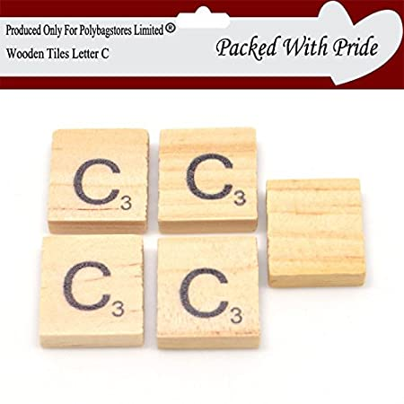 POLYBAGSTORES LIMITED PACK OF 40 LETTER C WOODEN SCRABBLE TILES Gorgeous Decorative Letter Tiles