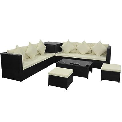 vidaXL Conjunto de Sofás Muebles de Jardín 26 Piezas Ratán Sintético ...