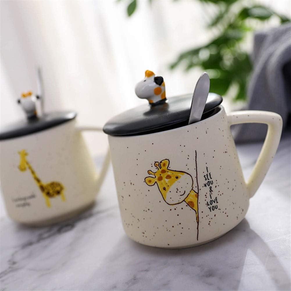 Color : Deer A Chunhui-riyongbaihuodian Chic Kreative Cartoon Deckel mit L/öffel Becherschale Kaffeetasse Keramiktasse Giraffe Perspektive Gypsophila Ideal
