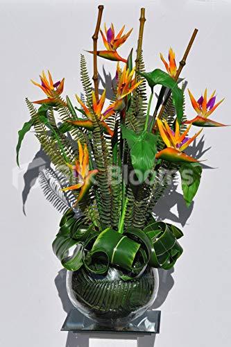 Silk Blooms Ltd - Pecera Artificial con Forma de pájaro de paraíso y Flores de bambú