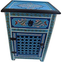 Moroccan Handpainted Nightstand Wood Turquoise Arabesque Design Furniture