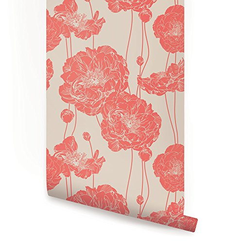 (Peony Wallpaper - Dark Salmon - 2 ft x 9 ft - 6pk - by Simple Shapes)