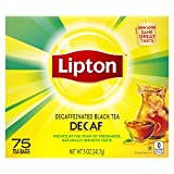 Lipton Tea Bags For a Delicious Beverage Decaffeinated Black Tea Caffeine-Free and Made With Real Tea Leaves 75 Tea Bags