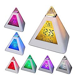FunnyToday365 Led Changing Color Pyramid Digital Lcd Snooze Alarm Clock Triangle Thermometer C F A609