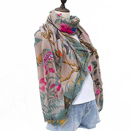 Print Satin Wrap - Echarpe Femme Cotton Scarf Women Bandana Silk Satin Scarves Stoles Floral Bird Tree Print Shawls Pashmina For Ladies Wraps (FS444-04)