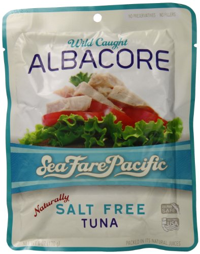 Sea Fare Pacific Wild Caught Albacore Tuna, Naturally Salt Free Pouch, 6 Ounce (Pack of 12) - Sea Albacore