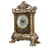 HENSE Retro Vintage European Style Decorative Grandfather Clock Polyresin Modern Mantel Shelf Tabletop Desk Quartz Clocks HD17 (Golden)
