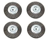 Forney 72747 Wire Bench Wheel Brush, Fine Crimped with 1/2-Inch and 5/8-Inch Arbor, 6-inch-by-.008-Inch, 4 Pack