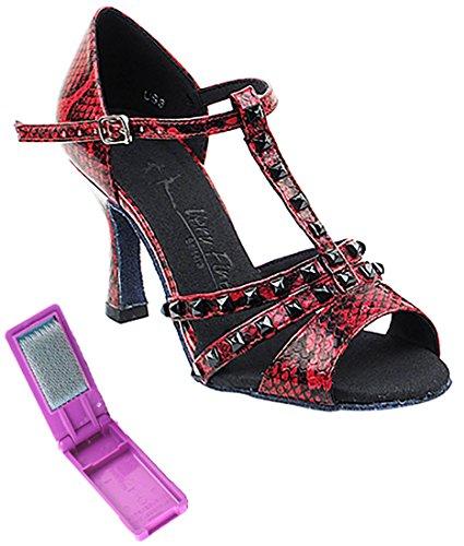 Très Belle Salle De Bal Latine Tango Chaussures De Danse Salsa Pour Les Femmes Sera7012 2,5 Pouces Talon + Bundle De Pinceau Pliable Rouge Serpent