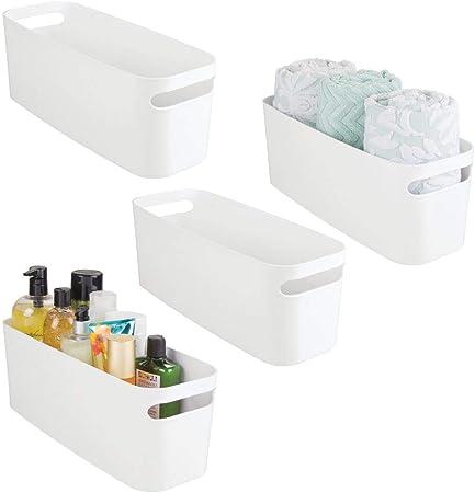 mDesign Juego de 4 organizadores de baño – Caja de plástico para ...