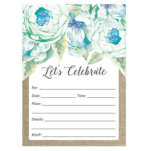 Rustic Bridal Shower Invitations with Envelopes (25 Count Value Pack) Let's Celebrate Floral Boho Chic Pastel Blue Flowers Engagement Bachelorette Wedding Grad Party Invites by Digibuddha VI0032B