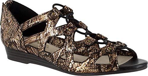 Easy Street Women's Savvy Wedge Sandal Black/Metallic Snake 8.5 M US