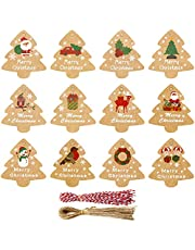 196 stuks Kerst Kraft Papier Tag Kit,96 stuks Xmas Tree Kraft Gift Tags Labels Labels met 100 stks String, Kerst Label Gift Tag Vrolijk Kerstmis Xmas Present Wrapping Craft Hang Tags