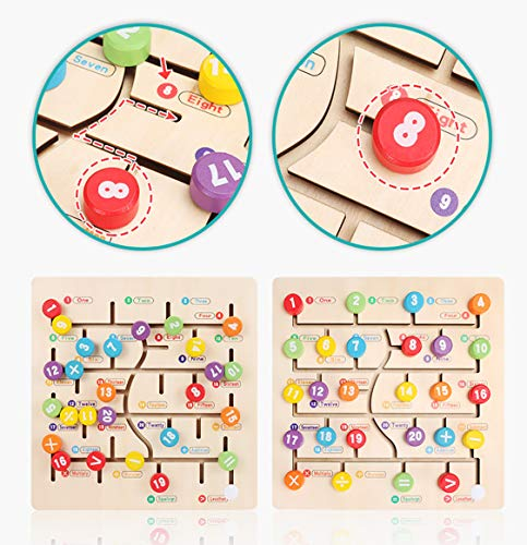 Preschool Early Educational Toys, Wooden Alphabet Maze Family Games for Toddlers Kids Boys and Girls 3 4 5 6 7 8 Years Old