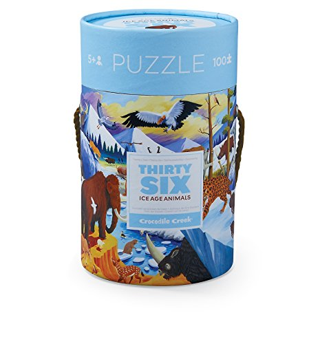 Crocodile Creek 4054-9 Ice Age Piece Puzzle in Canister Floor (100), 14 x 19, Blue/Green/Orange/Red/Pink