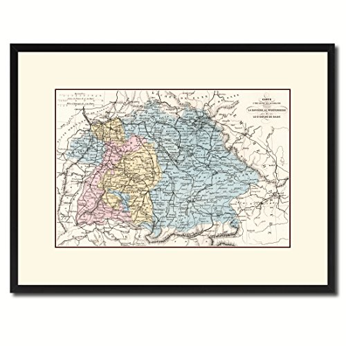 age Antique Map 36015 Print on Canvas with Picture Frame Urban Wall Home Décor Interior Bedroom Design Art Gift Ideas - Black 16