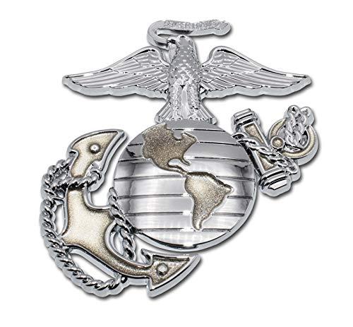 Motorcycle Corps Marine - Elektroplate Marines Premium Anchor Gold Chrome Auto Emblem
