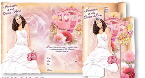 Beautiful Spanish Quinceanera Sweet 15 Invitations Comes in Packs of 100 with Envelopes ()