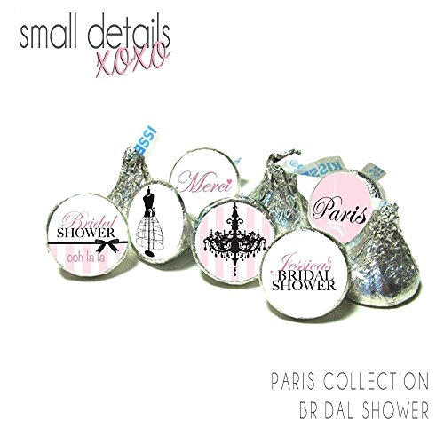 PARIS Bridal Shower Personalized Stickers - fits Hershey's Kisses Chocolate - stickers only(108 peel & stick stickers) -