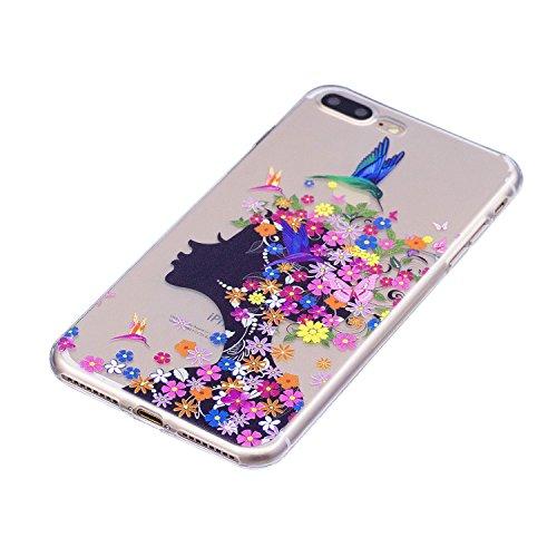 Coque iPhone 7 Plus / iPhone 8 Plus Fille de fleur Premium Gel TPU Souple Silicone Transparent Clair Bumper Protection Housse Arrière Étui Pour Apple iPhone 7 Plus / iPhone 8 Plus Avec Deux cadeau
