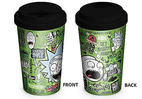 247567f6072 Amazon.com: Rick and Morty - Ceramic Travel Coffee Mug/Cup (Quotes ...
