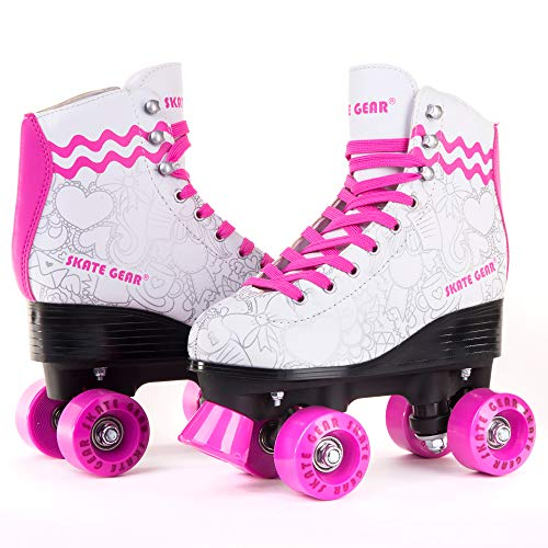 C SEVEN Skate Gear Cute Roller Skates for Kids and Adults (White/Pink, Youth 4 / Women's 5)
