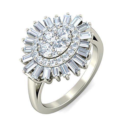 18 K Or Blanc, 1.44 carat rond et diamant sertie d '(IJ | SI) Cocktail en diamant