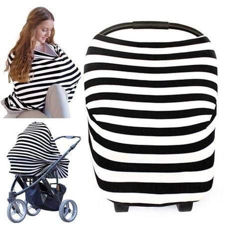 Nursing Cover for Baby Breastfeeding - Car Seat Canopy by KeaBabies - All-in-1 Soft Breathable Stretchy Carseat Canopy - Infinity Nursing Cover Up for Girls, Boys - Carseat Canopy Covers (Black) from KeaBabies