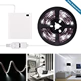 Battery Operated LED Strip Lights - 2018 New Design Cool White USB LED Light Strip Kit with 6.6FT 2M SMD 3528 IP65 Waterproof Super Bright LED Tape Light, Battery Box