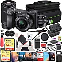 Sony a6300 4K Mirrorless Camera ILCE-6300L/B (Black) 2 Lens 16-50mm & 55-210mm 128GB Memory Deco Gear Case Filter Kit Charger & Extra Battery Power Editing Bundle