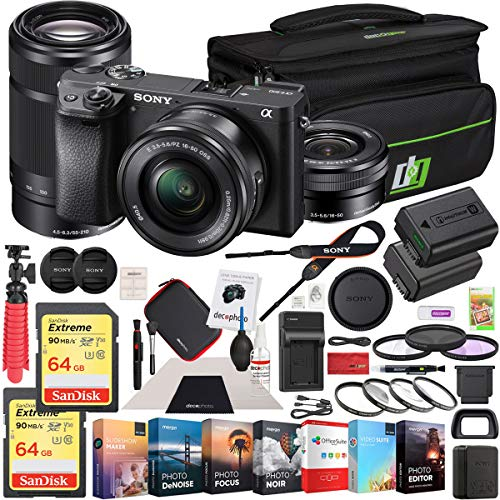 Sony a6300 4K Mirrorless Camera ILCE-6300L/B  2 Lens 16-50mm