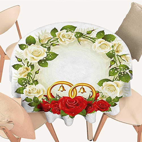 Easy-Care Cloth Tablecloth Frame with White and Red Roses and Stylized Wedding Rings Romance White Green for Home, Party, Wedding, 35 INCH Round