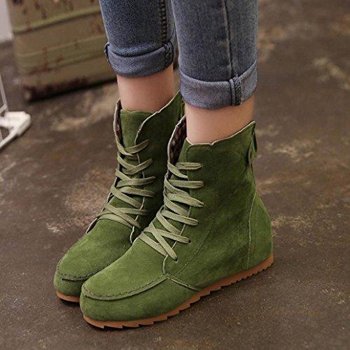 ESAILQ de Femenina de de ESAILQ Cordones Gamuza de de Zapatos de Cuero por Verde Planas Botas Por Mujer Nieve Botas Tobillo ZaAww1Hnqx