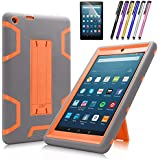 Fire HD 8 2016 Case, Mignova Heavy Duty Hybrid Protective Case with Kickstand For Amazon Fire HD 8 Tablet (Previous Generation - 6th 2016) + Screen Protector Film and Stylus Pen (Z-Gray/Orange)