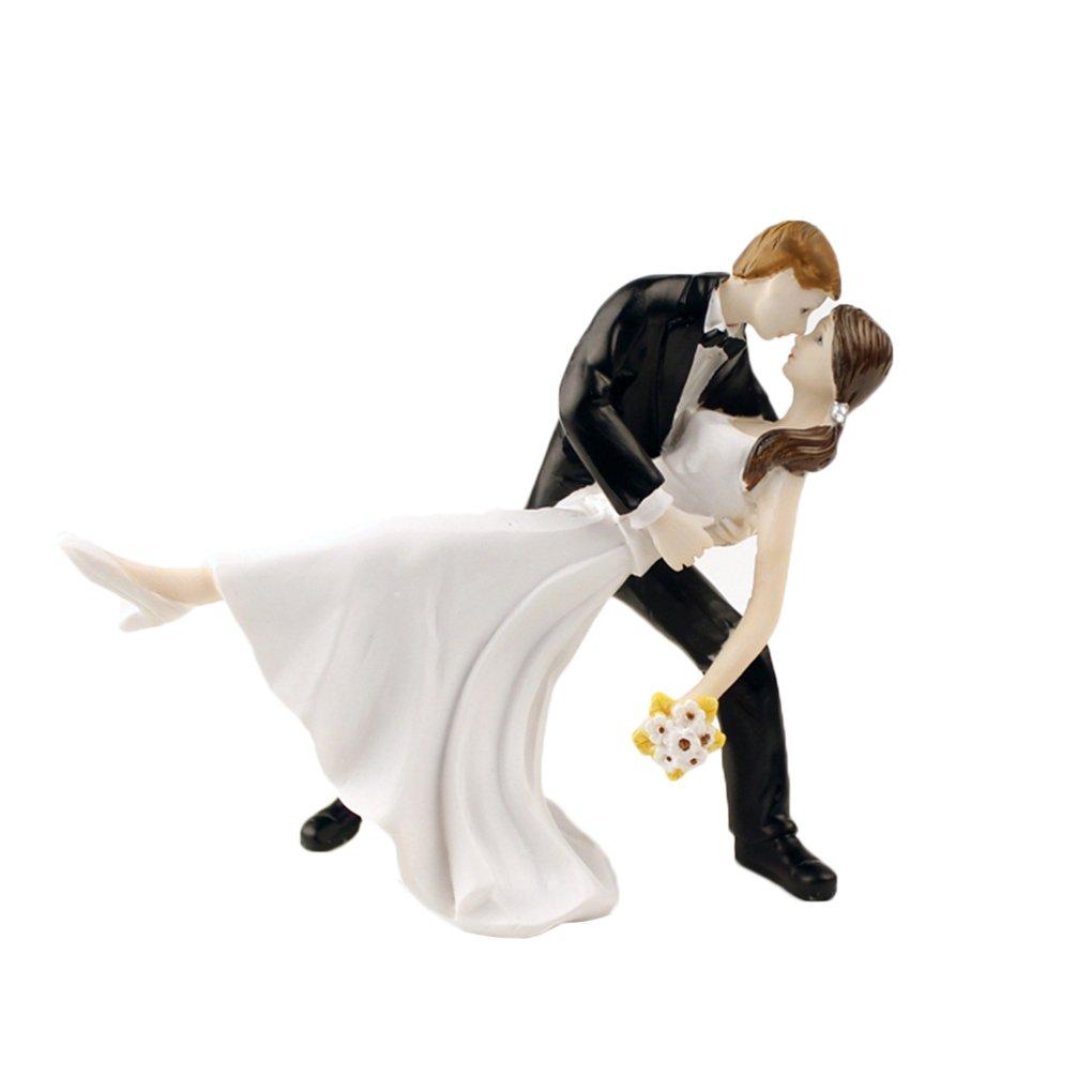 Censhaorme Romantische Braut-Br/äutigam-Paar-Fig/ürchen Tango Tanzen Kuss Dip Hug Hochzeitstorte Topper