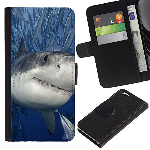 EuroCase - Apple Iphone 6 4.7 - Killer Shark With Fish - Cuir PU Coverture Shell Armure Coque Coq Cas Etui Housse Case Cover
