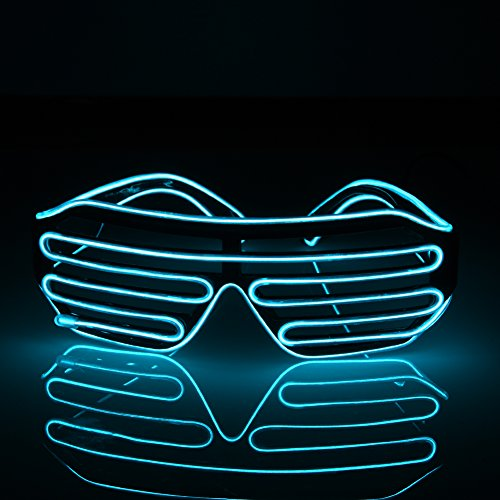 wonderfulwu LED EL Glasses, Shutter Shades for Bar Party Fluorescent Dance DJ Bright Glasses EL Wire Fashion Neon LED Light Glow Rave Costume Party Atmosphere Activing Props