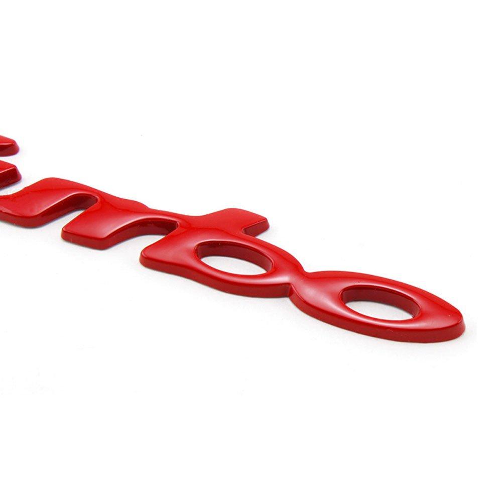 Dsycar 1 Paire 3D M/étal Turbo Logo De Voiture Badge Embl/ème Autocollant Rouge 4 Pcs Style Molet/é avec en Plastique Noyau Valve Caps pour Universal Car Styling Accessoires D/écoratifs