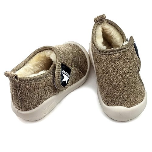 Baby Boys Girls Snow Boots Double Velcro Kids Causal Winter Shoes With Warm Fleece (4.5 M US Toddler, Khaki-811)