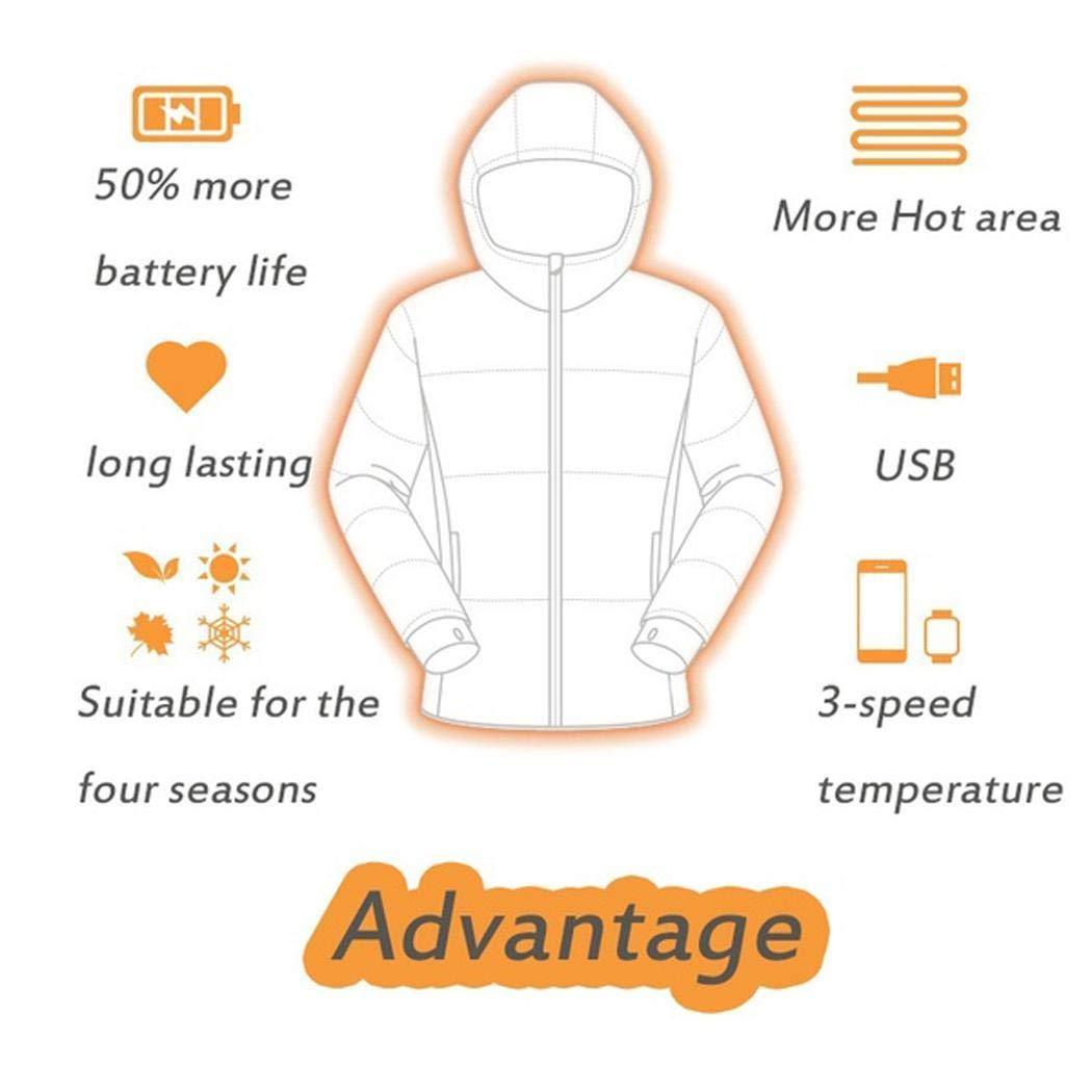 Giacca Invernale Calda Gfone Uomo Donna Giacca riscaldata USB Giacca riscaldata in 3 Tipi di Controllo della Temperatura