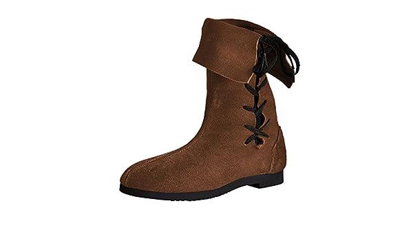 Botas altas con caña vuelta - calzado medieval de hombre ...