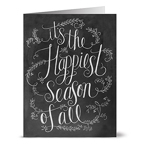 Season greeting cards amazon tis the happiest season of all 36 chalkboard note cards blank cards kraft envelopes included m4hsunfo