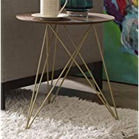 Elle Decor Livvy Side Table, Burnt Sienna and Gold