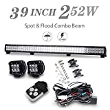 """39"""" inch 252W LED Work Light Bar Spot Flood Combo Beam Offroad Driving w/ 4 inch 18W Spot LED Work Light Bar w/ 1 set 3 Leads Wiring Harness with Remote Control Kis for SUV 4WD ATV UTV Off road Jeep Truck Boat Car Ford GMC"""