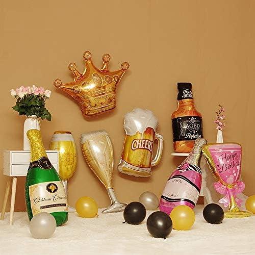 Juego de decoración de botellas de champán con globos de papel de aluminio, botella de vino de 6 piezas con globos de helio de vidrio,inflado gigante para de fiesta de bodas de