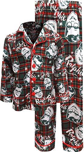 A Christmas Story Boys 'Ralphie Glasses Santa' Christmas Holiday Flannel Plaid Button Pajama Set, Green, 4/5 -