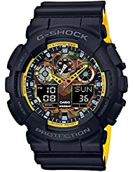 Casio G-Shock Mens Analog-Digital Black & Yellow Resin Strap Watch GA100BY-1A