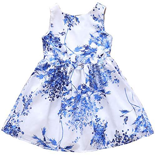 (Girls Dress Sleeveless 100% Cotton Blue Print Todder Party Little Girl Summer Sun Dresses 3T)